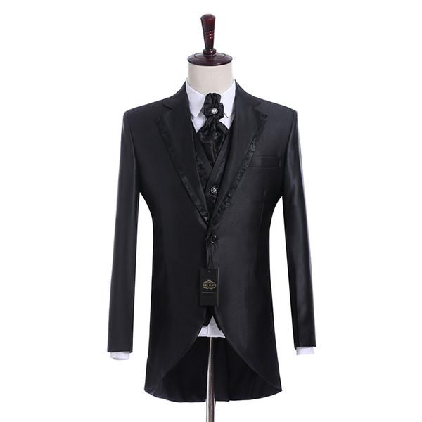 Real Picture Groomsmen Shiny Black Groom Tuxedos Notch Lapel Men Suits Side Vent Wedding/Prom Best Man Blazer ( Jacket+Pants+Vest+Tie ) K944