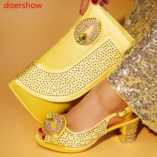 2018 Africa Summer Style Woman Shoes And Bag Set Fashion Rhinestone High Heel Shoes And Bag Set For Evening Party SNYY1-17