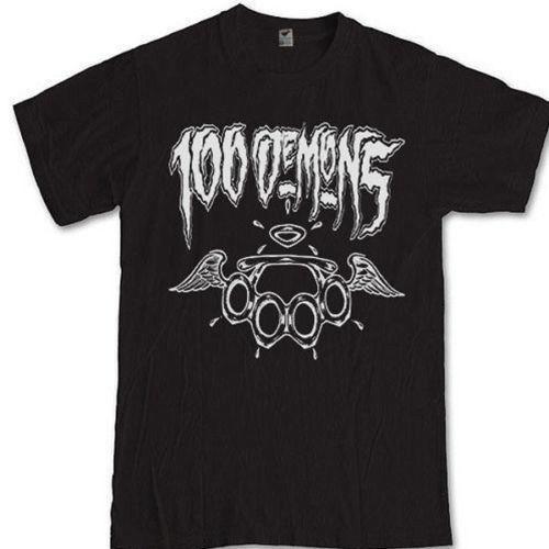 100 Demons Tee Maglietta Hardcore Punk Band Maglietta stampata casual da uomo in cotone nero Modelli base