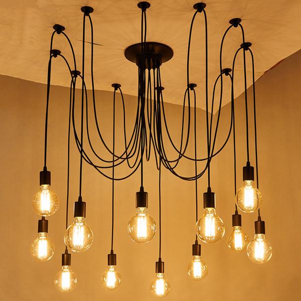 Lampada a sospensione a ragno in stile classico fai-da-te Lampade a sospensione sospese Lampade Lampadina Edison per soggiorno Sala da pranzo Infissi
