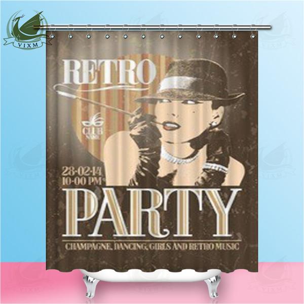 Vixm Retro Parti Posteri Ile Eski Moda Sigara Kadın Içinde Şapka Duş Perdeleri Polyester Kumaş Perdeler Ev Dekorasyonu Için