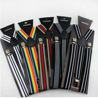 New fashion men striped suspenders belt 3 Clip-on Men Women Braces straps
