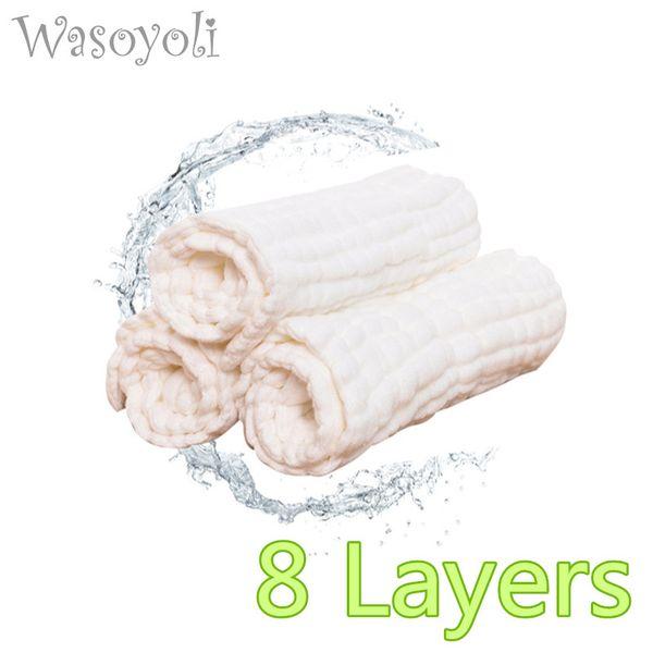 1 Piece Wasoyoli Baby White Swaddles 90*110cm 100% Seersucker Muslin Cotton 8 Layers Newborn Baby Blanket Soft Bath Hold Wraps