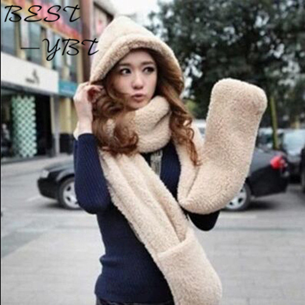 2016 New Arrival Women's Hats Scarves Gloves Three One Warm Autumn and Winter High-quality Knit Hat Plush Hat Suit Hot