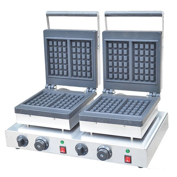 Qihang_top equipo de cocción al por mayor de doble cabeza máquina para hacer gofres eléctrica 220 V 110 V doble cabeza máquinas de gofres cuadrados