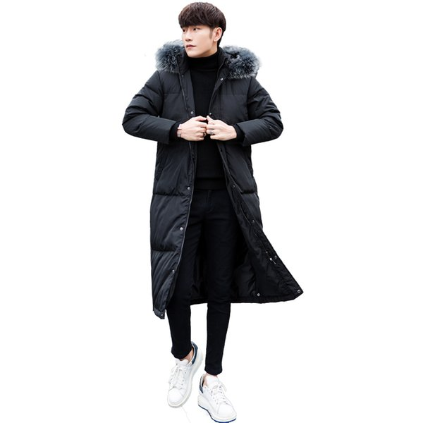 2018 new long winter down jacket with fur collar men's clothing casual white duck down coat thicker Parkas men's jacket XD443