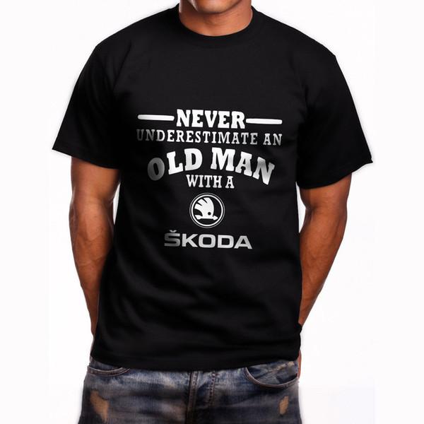 Skoda Never Underestimate an Old Man Mens Black T-Shirt Size S-3XL Print Fitness T-Shirt Men Classic Casual T Shirt