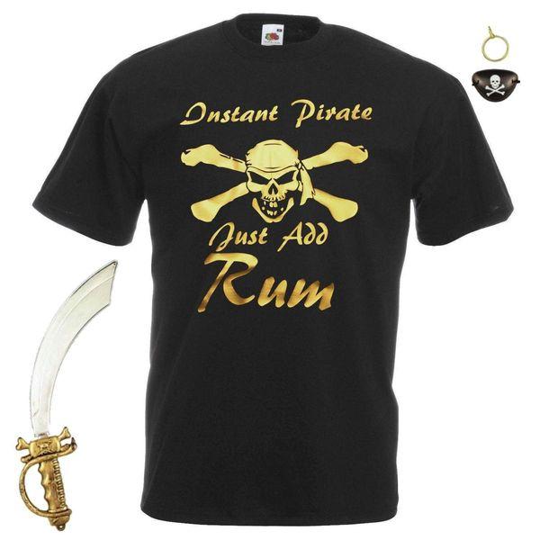 Mens Preto pirata imediato apenas adiciona o rum T-shirt Fancy Dress + Acessórios pirata