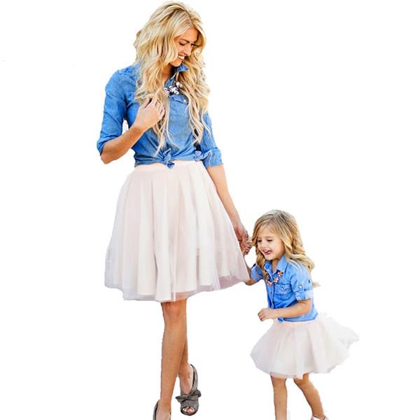 Mother Daughter Clothes Set Family Look Children Girl Women Long Sleeved Denim Shirt+tutu Skirt Matching Outfits