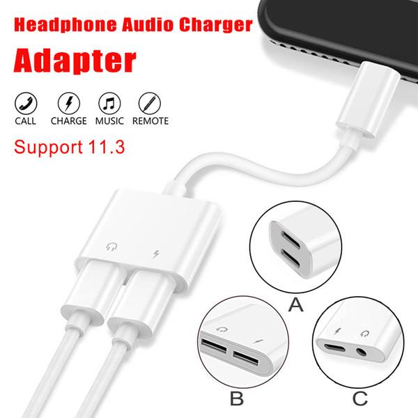 2 en 1Dual Para relámpagos en el cable de audio Conectores del adaptador Adaptador Cable para iPhone 7 8 X Para iOS 11.3 Versión con paquete OPP