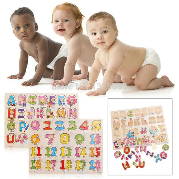 best selling Baby Wooden Toys 3D Wooden Puzzle Child Kids English Digital Number Learning Aids Baby Early Educational Toys for Children