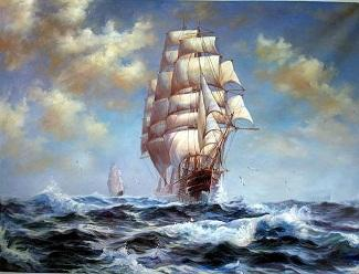 Framed seascape ship big sail boats on ocean with waves canvas,Perfect Hand-painted Seascape Art oil painting On Canvas Multi sizes Sc052