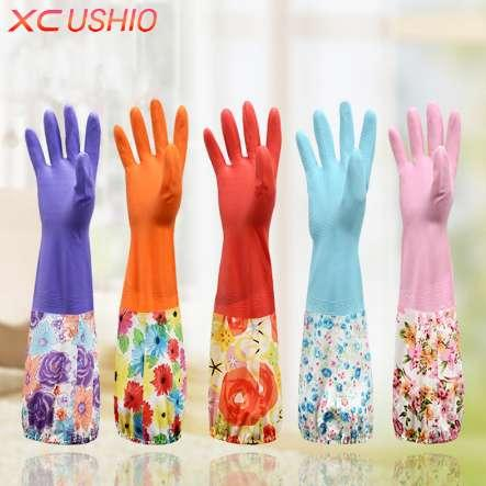 1 Pair Kitchen Elastic Band Long Sleeves Cleaning Gloves with Velvet Warm Gloves Household Waterproof Dishwashing Gloves