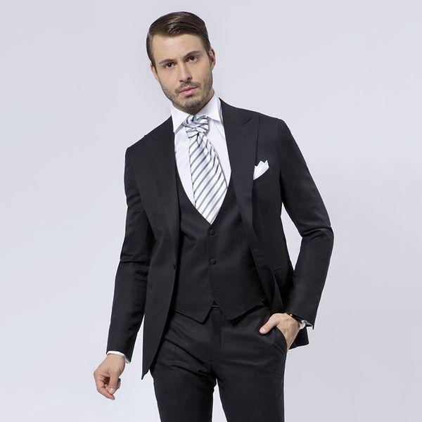Men Suits 2018 Black Peaked Lapel Wedding Suits Bridegroom Custom Made Slim Fit Formal Tuxedos Best Man Blazer Prom Evening Dress 3Pieces