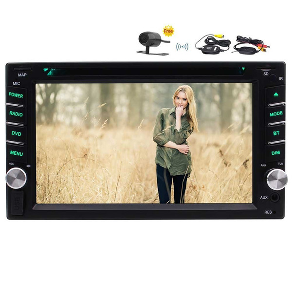 "Wireless Camera+6.2""Capacitive Double Din Car DVD CD Video Player Bluetooth FM/AM RDS Radio Car Stereo SWC AUX Subwoofer 1080P Video"