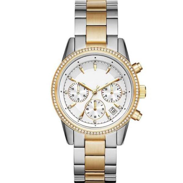 2018 Fashion Women's Chronograph Ritz Two-Tone Stainless Steel Watch 6474 Wristwatch