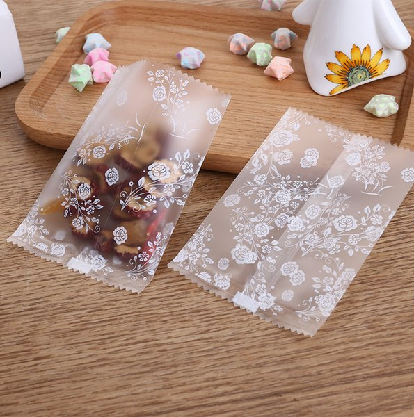 1000 x Assorted Size White Floral Machine Seal Plastic Cookie Bag Bakery Packaging Pouch PFrosted Flower Tea Packaging Bag