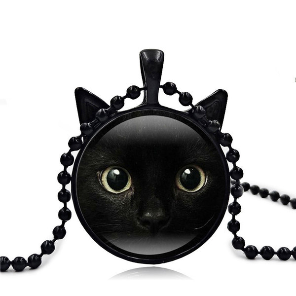 2018 New Black Cat Pendant Cat Face Necklace Cat Ear Jewelry Girls Glass Cabochon Necklace Pendant Valentine&'s Day Gifts Accessories 60PCS