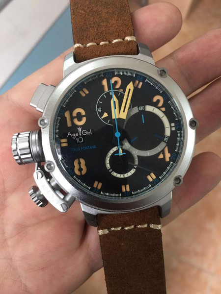 New Men Automatic Mechanical Watch Black Silver Rose Gold Boat Stainless Steel Brown Leather Sports 50mm U51 Watches For U