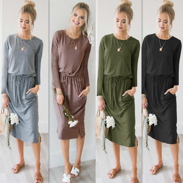 Robe maxi longue en gros-femmes manches longues Casual Sexy automne Full Sleeve Wrap lâche Oversize robes de soirée élégante robes FS5180