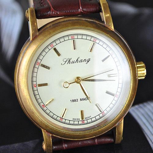 venta al por mayor de oro diseñador para hombre mecánico reloj de correa de café reloj freeship