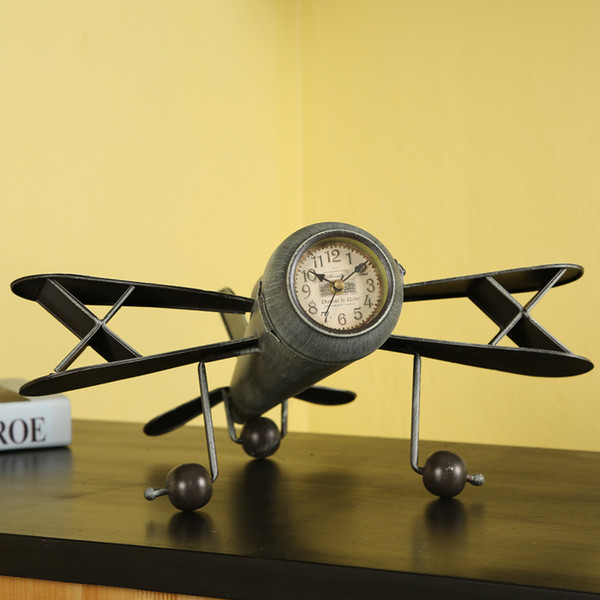 Retro decoration creative aircraft model shop decoration home decor crafts Furnishing iron airplane clock plane figurine gift