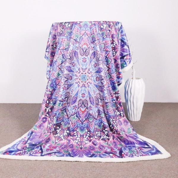 Cama de viagemOutlet Veludo De Pelúcia Reversível Sherpa Cobertor Rosa e Roxo Brilhante Padrão de Mandala Cobertor de Lã Microfibra Difusa
