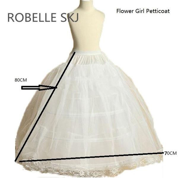 Flower Girl Petticoat Children Crinoline Underskirt Slip for Little Girl 80cm Long 3-Hoops High Quality Fast Shipping