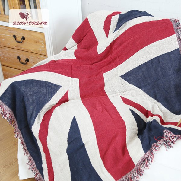 SLOWDREAM Knitted Blanket UK Flag Mantas Throw Autumn Winter Plain Warm Blanket Child Adult Bedspread Sofa Bed Covers Quilts