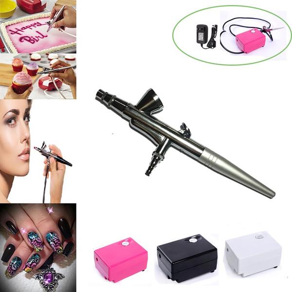 AirBrush kit with Compressor Air brush Gun 0.4mm Needle Set nail Art Makeup Body Painting tools Car Cake Toy dotting tool