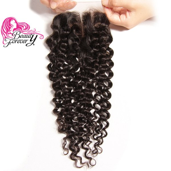 Beauty Forever Brazilian Peruvian Curly Human Hair Closure 4*4 Top Lace Closure Best Quality Swiss Lace 120% Density Virgin Hair Extension