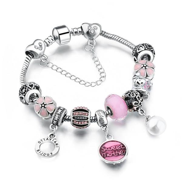 Bijoux de mode Antique Argent Femmes DIY Charme Bracelet Grand Cristal Perles de Fleurs lettre pendentif cuivre Bracelet bracelets pour Femmes