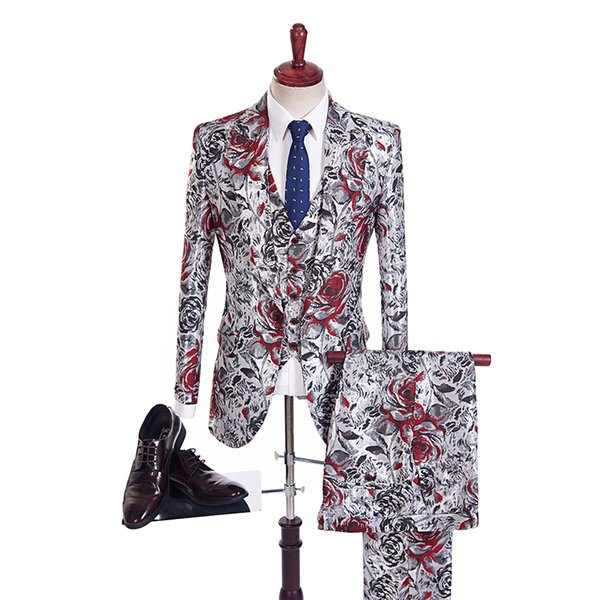 Customize Slim Latest Single-Breasted Gun Peaked Lapel Silvery Red Pattern Wedding Suits Wedding Tuxedos For Men Slim Fit Groomsmen Suits