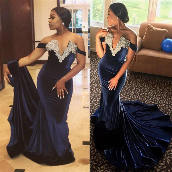 Navy Blue Velvet Mermaid Evening Party Dresses 2018 Plus Size Nigeria African Off Shoulder Beaded Fishtail prom formal gown wear