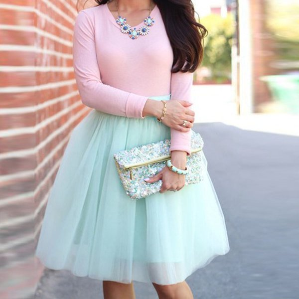 Mint Green Knee Length Tulle Skirts For Pretty Lady Zipper Style Custom Made Sky Blue Midi Tulle Skirt Women 2018 Female Bottom