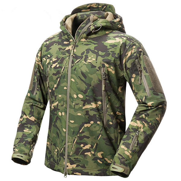 Outdoor Men Women Fleece Liner Waterproof Jacket Tactical Military TAD V.5 Camouflage Sport Camping Skiing Warm Hooded Tops Coat