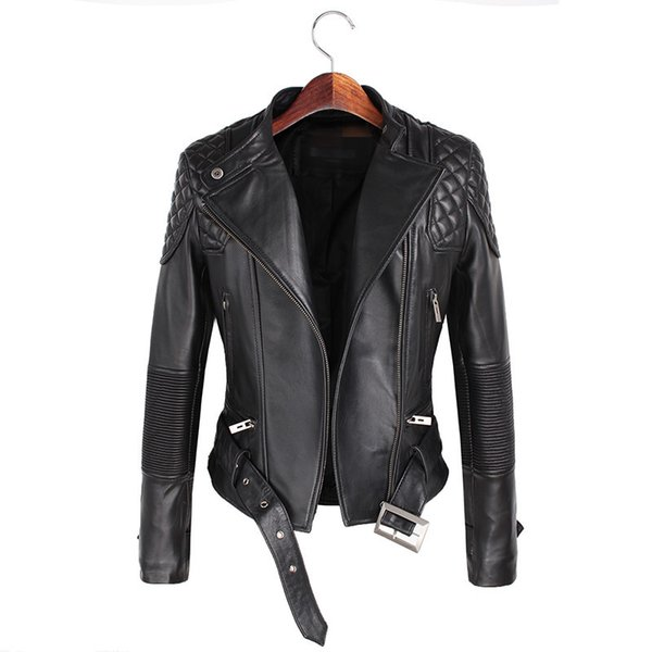 Leather Jackets Women 2017 Spring Autumn Rivet Zipper Motorcycle Faux Leather Coat Female Paragraph Lapel Jacket Coat