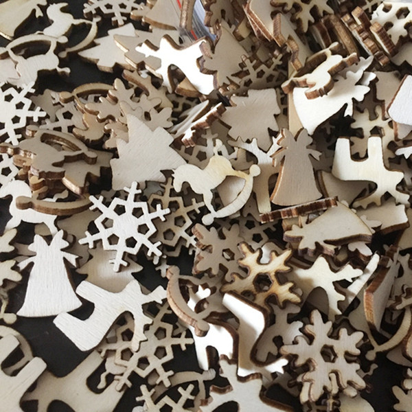 50pcs/lot Christmas Party Decor Natural Wood Christmas Ornaments Reindeer Tree Snow Flakes Rocking Horse Ornaments