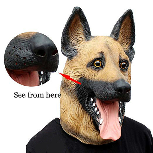 Novidade de luxo Traje Do Partido Do Dia Das Bruxas Máscara de Látex Cabeça de Animal Realista Máscara Do Cão Novidade Traje de Halloween Super Bowl Party Underdog Látex