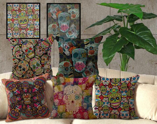 100pcs Hallowmas Skull Pillow Case Cushion cover Linen Cotton Throw Pillowcases sofa Bed Pillow covers C173