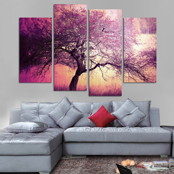 Modular Framework Pictures Painting Wall Art Decor Canvas 4 Panel Purple Tree Landscape For Living Room Bedroom Prints Cuadros