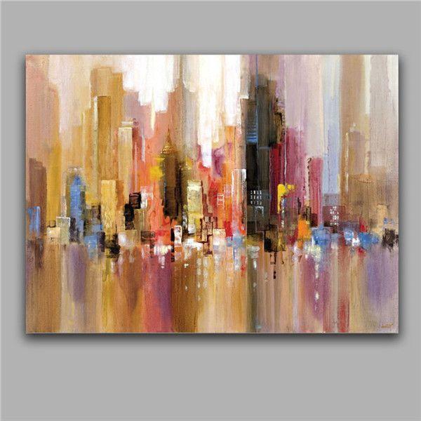 Pinturas al óleo del edificio abstracto moderno impresión casa aceites ilustraciones decoración del hogar pared imagen arte 100% pintura de la lona hecha a mano