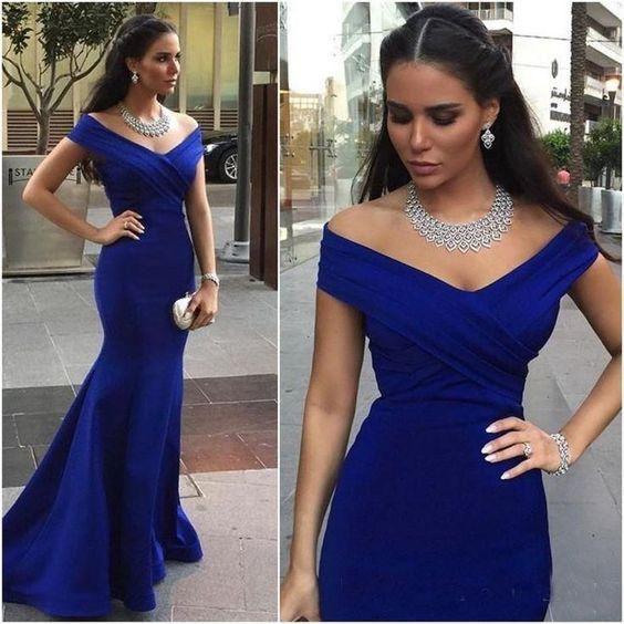 Royal Blue Off Shoulder Vestidos de dama de honor largos Sirena 2019 Árabe Vestidos de boda formales de invitados Vestido de fiesta Barato