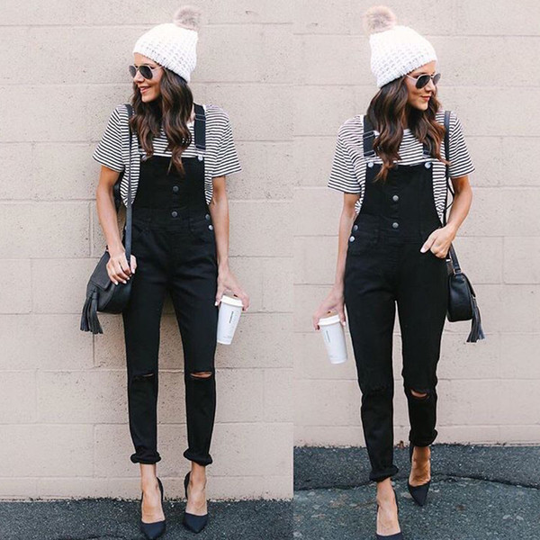 2018 Autumn Winter Women Denim Overalls Black Denim Jumpsuit Ripped Holes Jeans Sleeveless Jumpsuits Hollow Out Slim Rompers