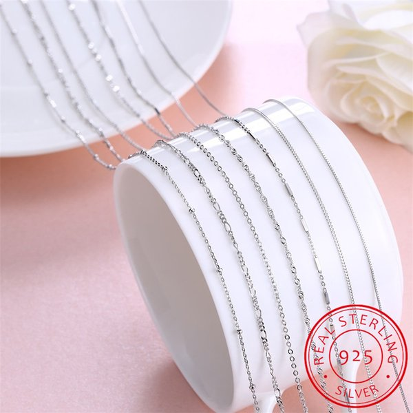Real 925 Sterling Silver Basic Chain Necklace For Women Female Girls 16 18 20 Inch Snake Rope Link Chain Jewelry Wholesale Gift