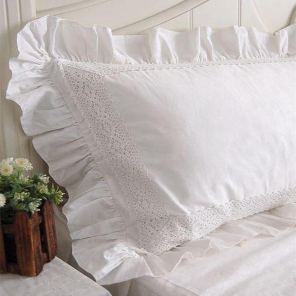 2 pz New White Satin Lace Ruffle Pillow Case Stile Europeo Elegante Ricamato Federa di Lusso Biancheria Da Letto Copertura Del Cuscino No Filler