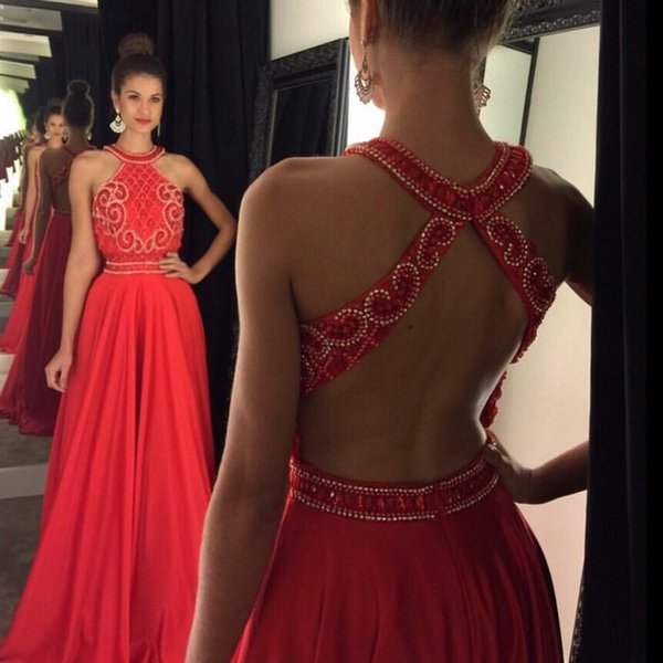 Charming Red 2018 Prom Dresses Crystal Beading A Line Formal Evening ...