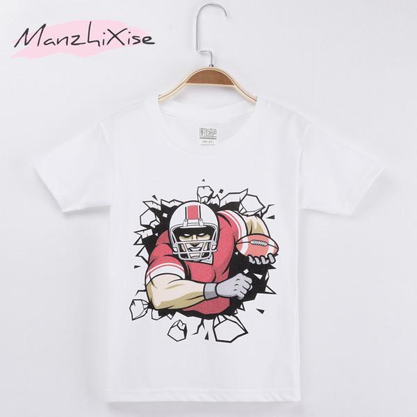 2018 Fashion Nova Kids T-shirt Rugby Football 3D 100% Cotton Children Boys Short T Shirts Baby Clothing Girl Clothes Child Shirt Teen Tee