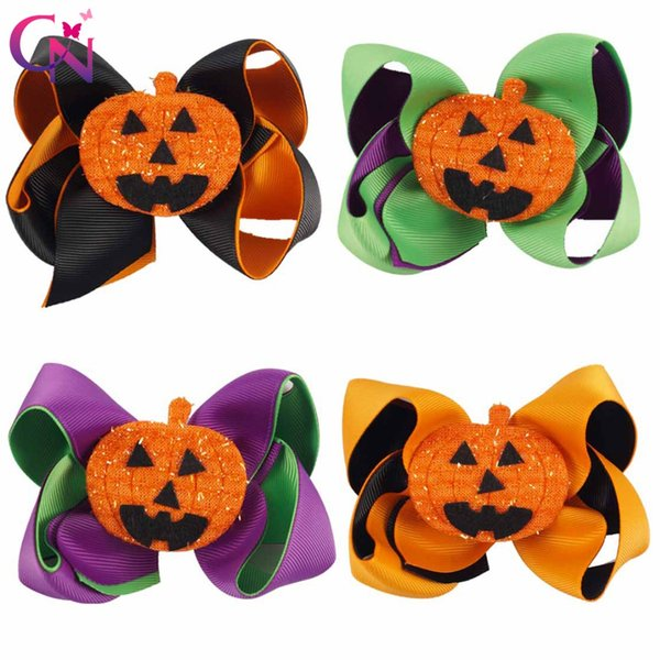 8 Pieces/Lot 4'' Fashion Hair Bows With Clips For Kids Girls Handmade Two Layers Ribbon Halloween Bows Hairgrips Children Hair Accessories