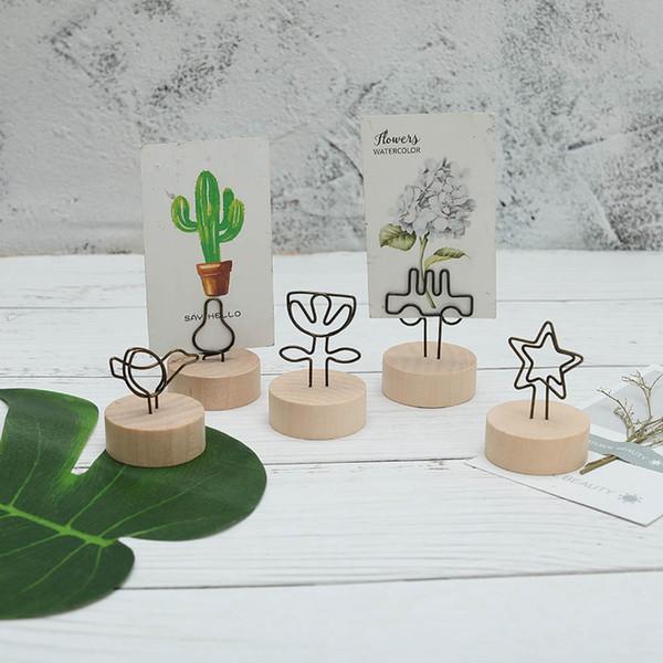 1 Stücke Kreative Runde Holz Eisen Foto Clip Memo Name Karte Anhänger Einrichtungsartikel Bilderrahmen 8 Stile !!!